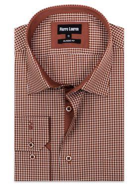 Стильная мужская рубашка в коричневую клетку