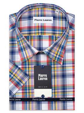 Мужская рубашка больших размеров c коротким рукавом в красно-сниюю клетку из 100% хлопка. Мужская рубашка больших размеров c коротким рукавом в красно-сниюю клетку из 100% хлопка.