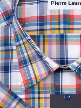 Мужская рубашка больших размеров c коротким рукавом в красно-сниюю клетку из 100% хлопка.