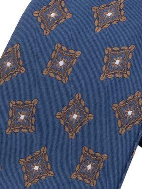 Синий мужской галстук с геометрическим рисунком. Галстук шириной 9 см у основания.
