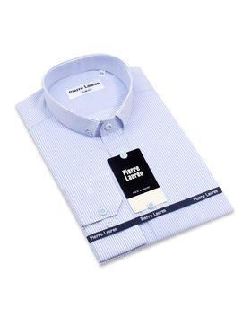 Голубая приталенная мужская рубашка в полоску
