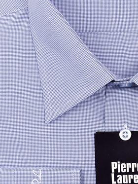 Синяя мужская рубашка в небольшую клетку
