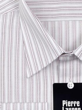 Мужская рубашка в серо-коричневую полоску из 100% хлопка