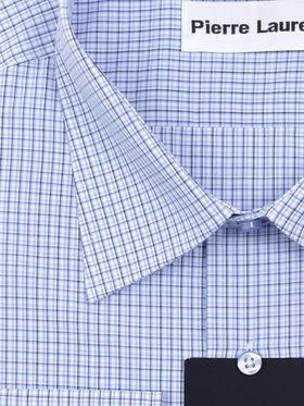 Голубая мужская рубашка больших размеров в клетку