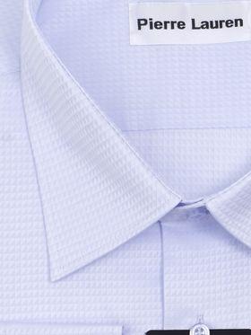 Красивая хлопковая голубая мужская рубашка больших размеров из ткани с геометрическим узором