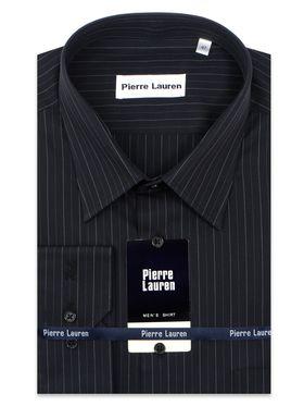 Черная мужская рубашка больших размеров в полоску