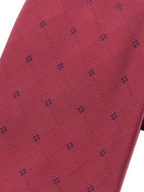 Бордовый мужской галстук с однотонным геометрическим узором в темно-синий горошек