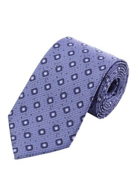 Синий мужской галстук с геометрическим узором. Галстук шириной 9 см у основания.