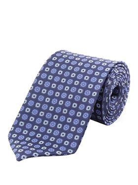 Синий мужской галстук в горошек. Галстук шириной 9 см у основания.