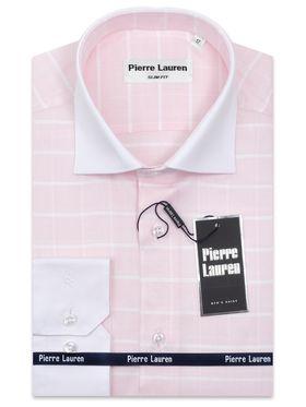 Красивая мужская рубашка из структурной розовой ткани в белую клетку