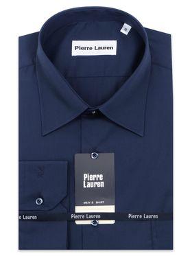Темно-синяя однотонная мужская рубашка больших размеров