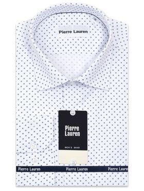 Белая мужская рубашка из структурной ткани с синим принтом