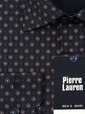 Коричневая мужская рубашка с красивым геометрическим узором