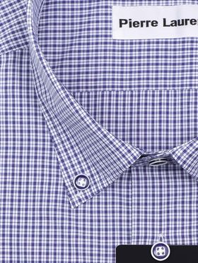Синяя приталенная мужская рубашка в клетку