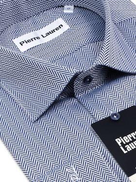 Мужская рубашка в синюю полоску с геометрическим узором
