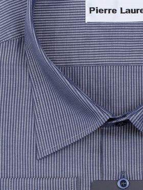 Хлопковая синяя мужская рубашка больших размеров в полоску