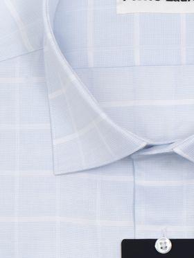 Мужская рубашка в клетку из голубой структурной ткани