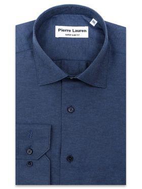 Однотонная темно-синяя мужская рубашка из структурной ткани
