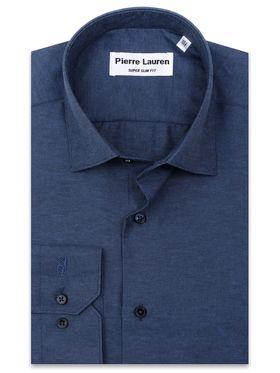 Темно-синяя приталенная мужская рубашка из структурной ткани
