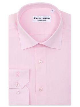 Однотонная розовая мужская рубашка из структурной ткани