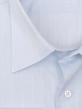 Голубая мужская рубашка в структурную полоску