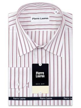 Классическая мужская рубашка с длинным рукавом в бордовую полоску