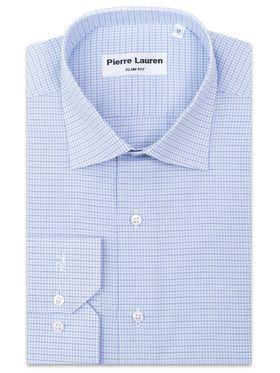 Приталенная мужская рубашка в голубую клетку