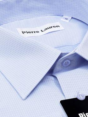 Мужская рубашка прямого покроя больших размеров из голубой ткани с геометрическим узором