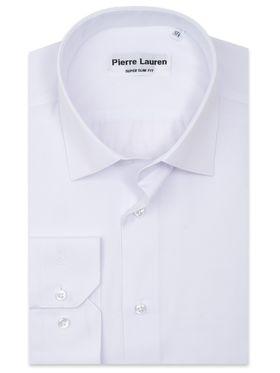 Однотонная мужская рубашка из белой ткани с геометрическим узоромОднотонная мужская рубашка из белой ткани с геометрическим узором