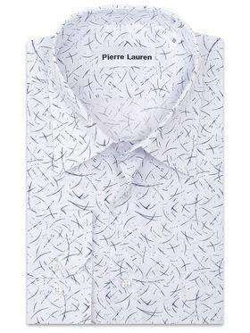 Белая мужская рубашка прямого покроя больших размеров с синим принтом