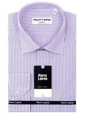 Сиреневая приталенная мужская рубашка в полоску