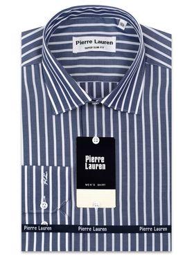 Красивая мужская рубашка в темно-синюю полоску