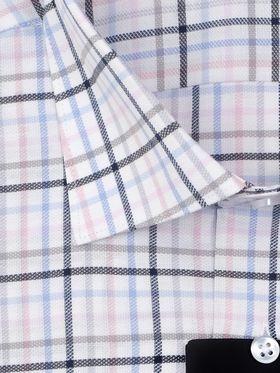 Интересная мужская рубашка в розово-голубую клетку