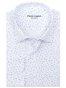 Белая мужская рубашка с узорным принтом