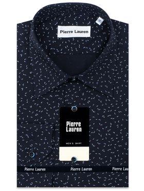 Красивая однотонная мужская рубашка с длинным рукавом темно-синего цвета с узорным принтом