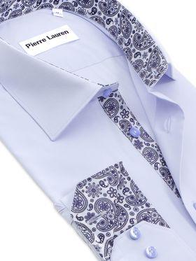 Голубая классическая мужская рубашка с длинным рукавом