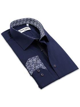 Приталенная темно-синяя мужская рубашка