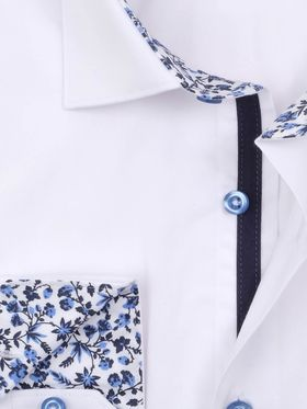 Однотонная белая приталенная мужская рубашка покроя Elegance Slim Fit