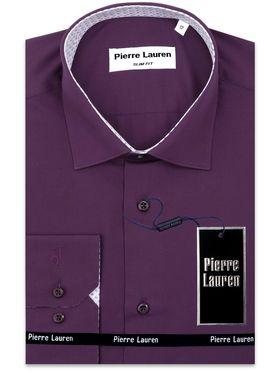 Приталенная фиолетовая мужская рубашка