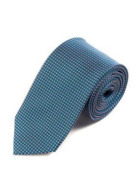 Интересный мужской галстук бирюзового цвета с геометрическим узором