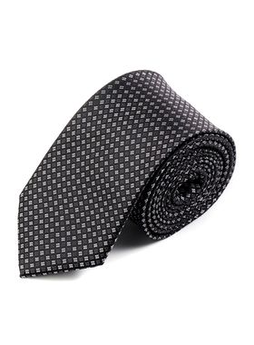 Черный мужской галстук со светлым геометрическим узором