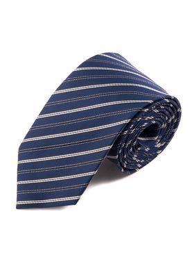 Классический синий мужской галстук с светлую и черную полоску