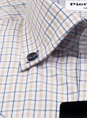 Мужская рубашка c коротким рукавом в светло-коричнвую клетку