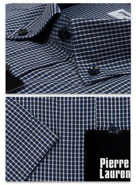 Мужская рубашка в темно-синюю клетку c коротким рукавом