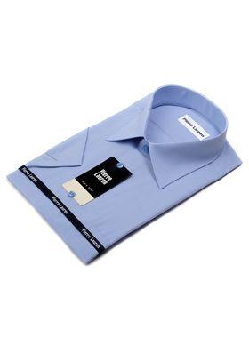 Мужская рубашка в голубую полоску c коротким рукавом