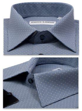 Мужская рубашка с синим узором и коротким рукавом зауженная
