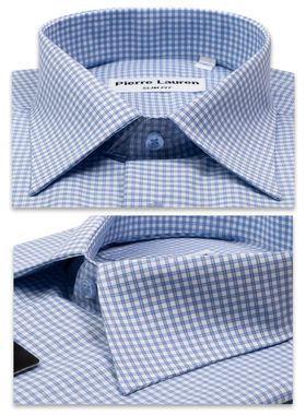 Приталенная мужская рубашка в двойную голубую клетку