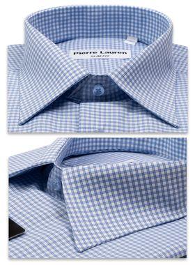 1170TBSK Мужская рубашка больших размеров c коротким рукавом в голубую клетку