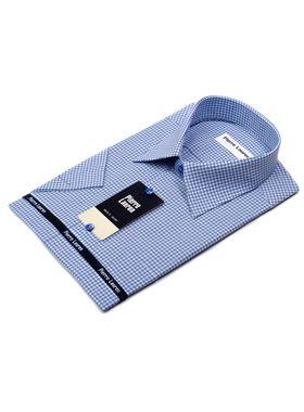 Мужская рубашка в синюю клетку c коротким рукавом
