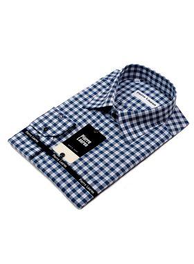 Красивая мужская рубашка больших размеров в синюю клетку